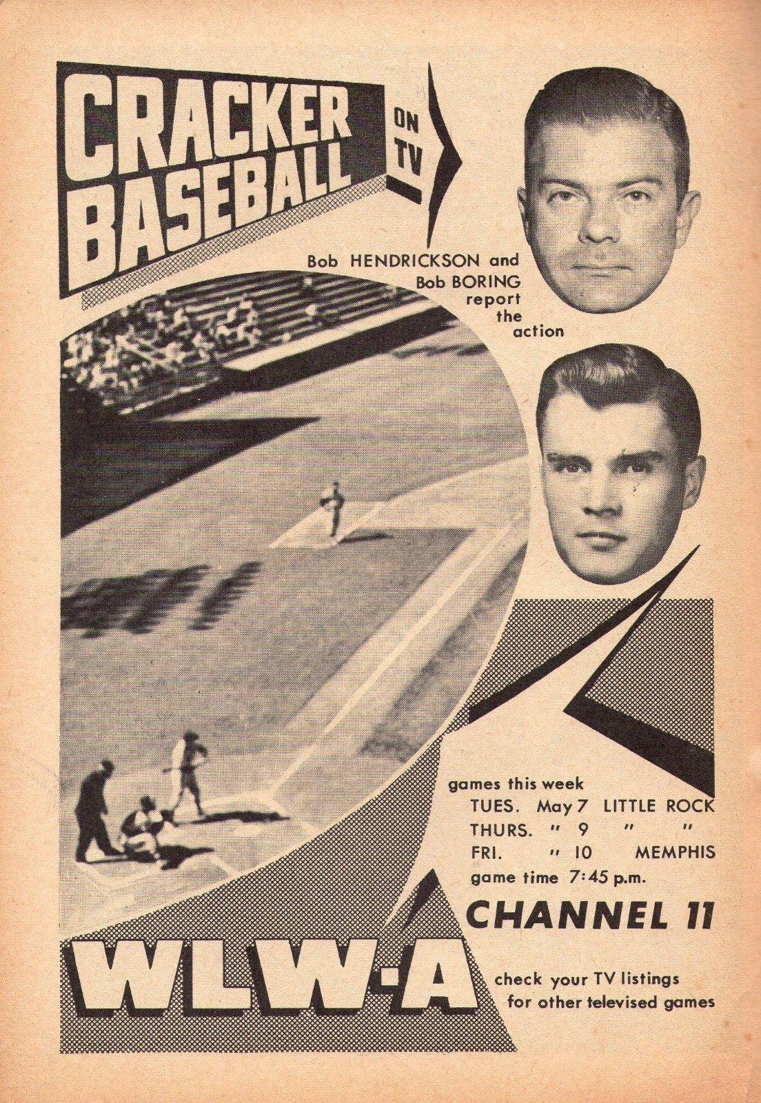 Wlwa Cracker Baseball Ad 1957 Baseball Tv Guide Tv Ads