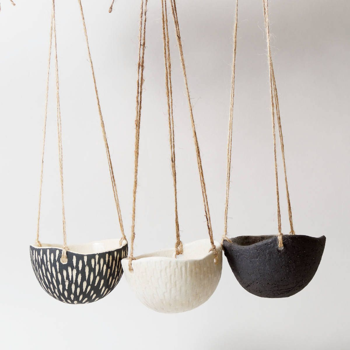 Ceramic Hanging Planter White Indoor Plant Pot Modern