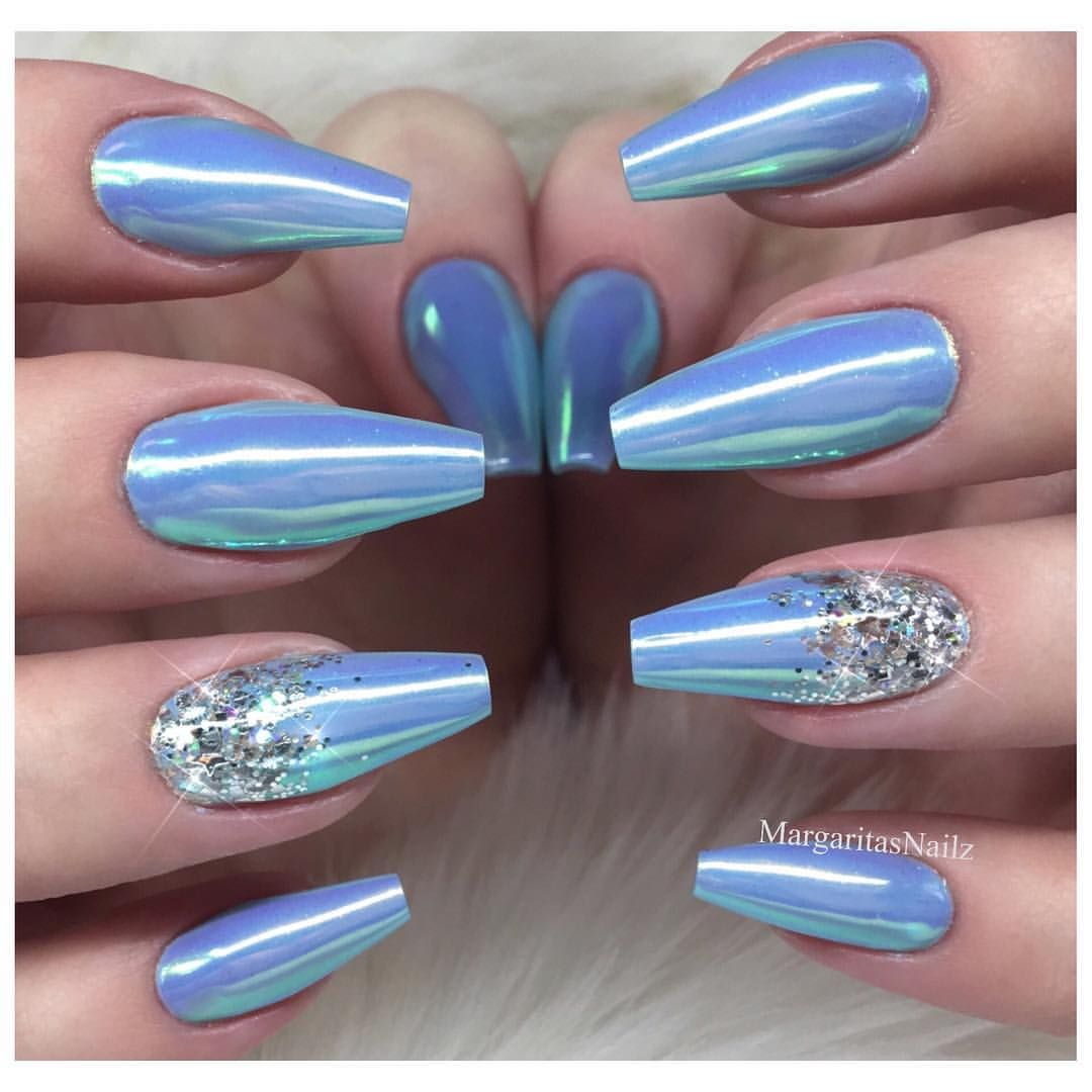 Icy Blue Glitter Chrome 3d Rhinestone Coffin Nails Mermaid Nails Trendy Nails Nail Designs