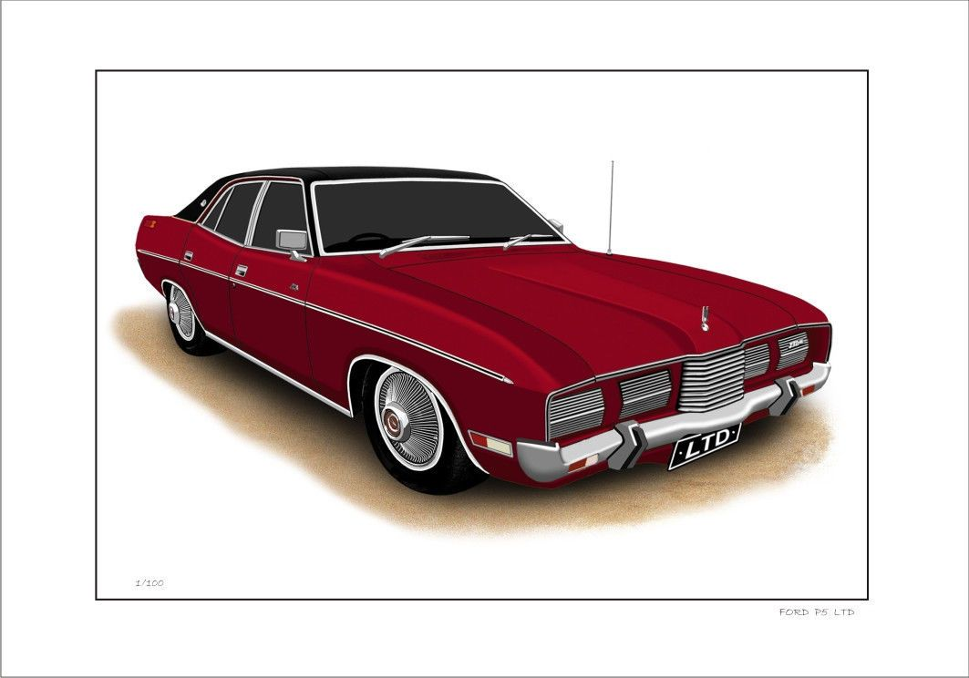 FORD ZG P5 LTD SEDAN. FOR SALE IS A LIMITED EDITION PRINT (100). Reproduced on the HIGH QUALITY A4 190GSM MATT PHOTO PAPER (21cm x 29.7cm or 11 3/4ins x 8 ... & Ford 73u0027 76u0027 zg p5 ltd 351 v8 sedan limited edition car print ... markmcfarlin.com