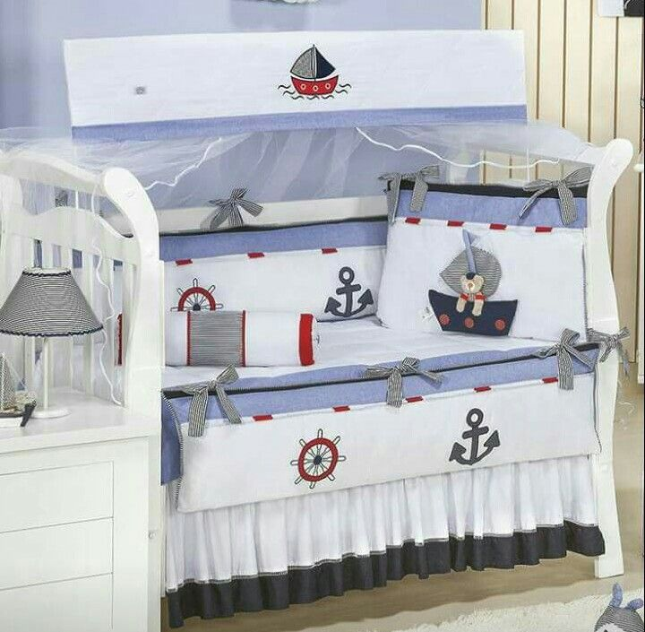 Cuna marinero babyshower cunas para bebes cojines for Decoracion habitacion bebe marinero