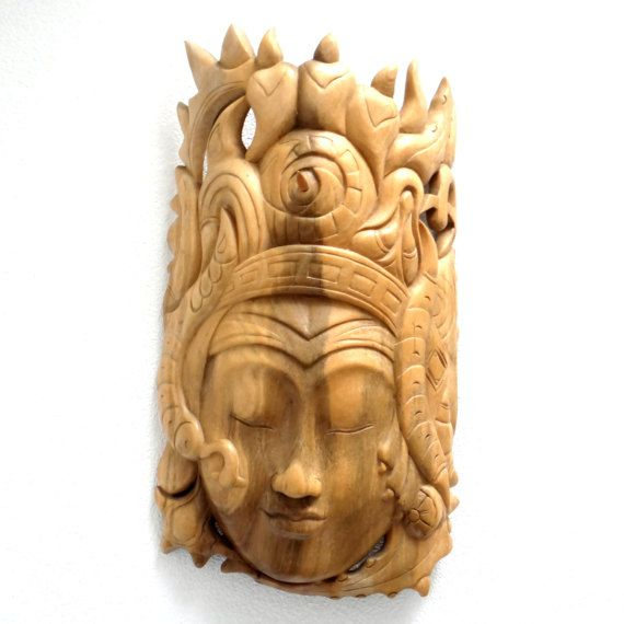 Vintage Balinese Carved Wooden Mask - Woman with a Moon Face, Satin ...