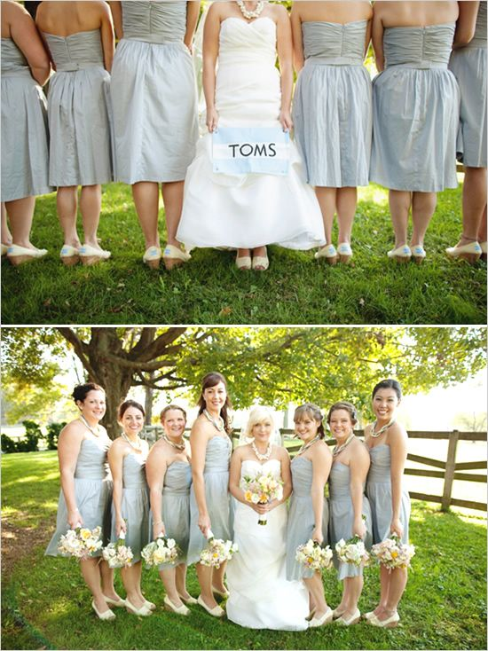 Gray with Yellow and Teal Bridesmaids Dresses