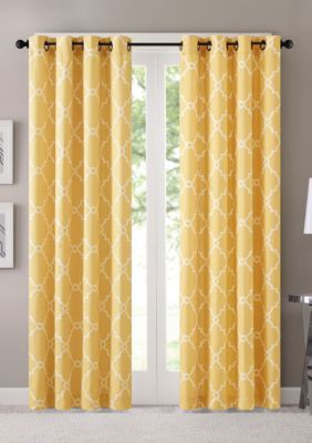Madison Park Saratoga Fretwork Print Grommet Top Window Curtain Yellow 108 Yellow Curtains Curtains Grommet