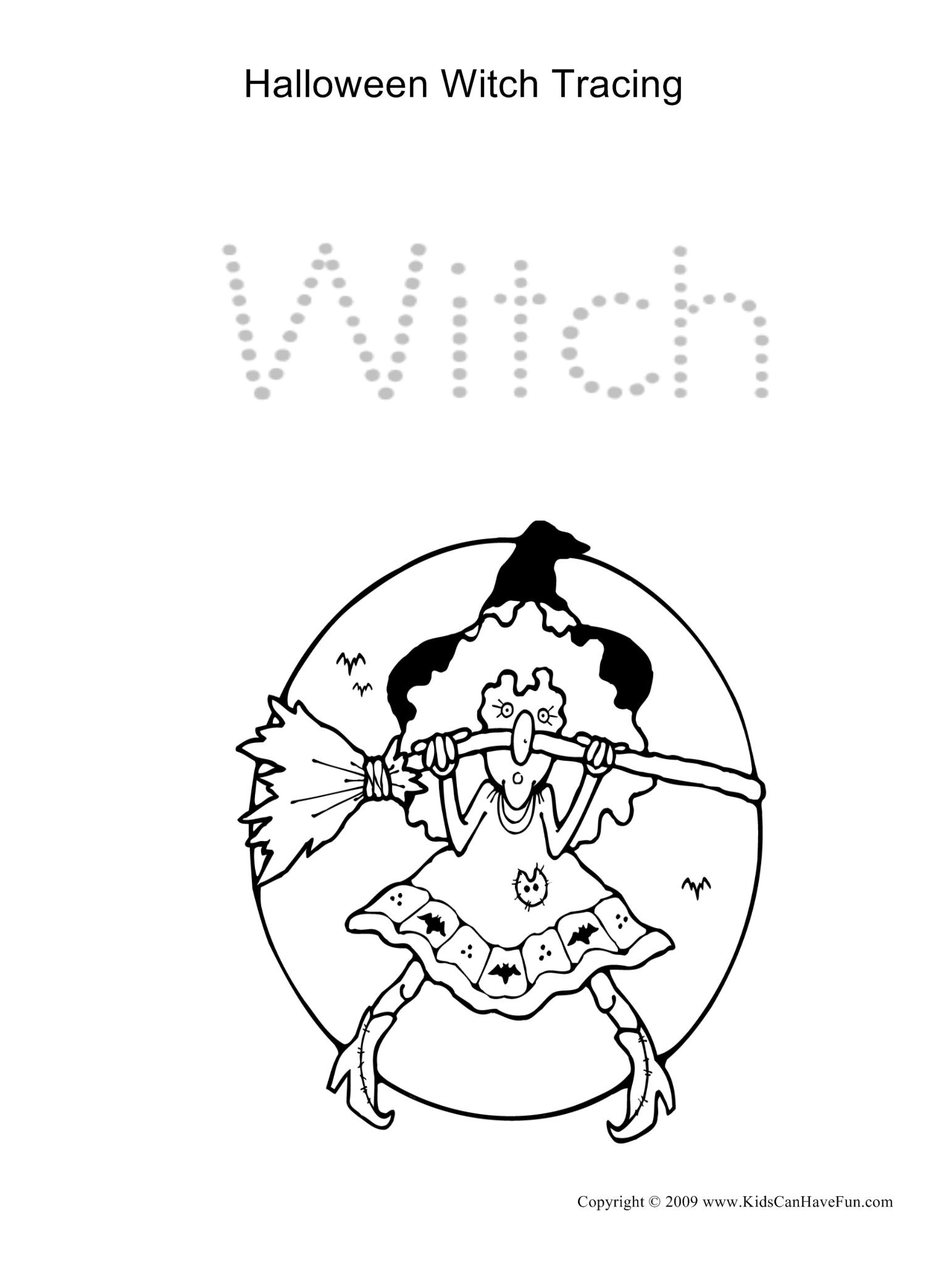 Halloween Witch Tracing Page Dscanhavefun