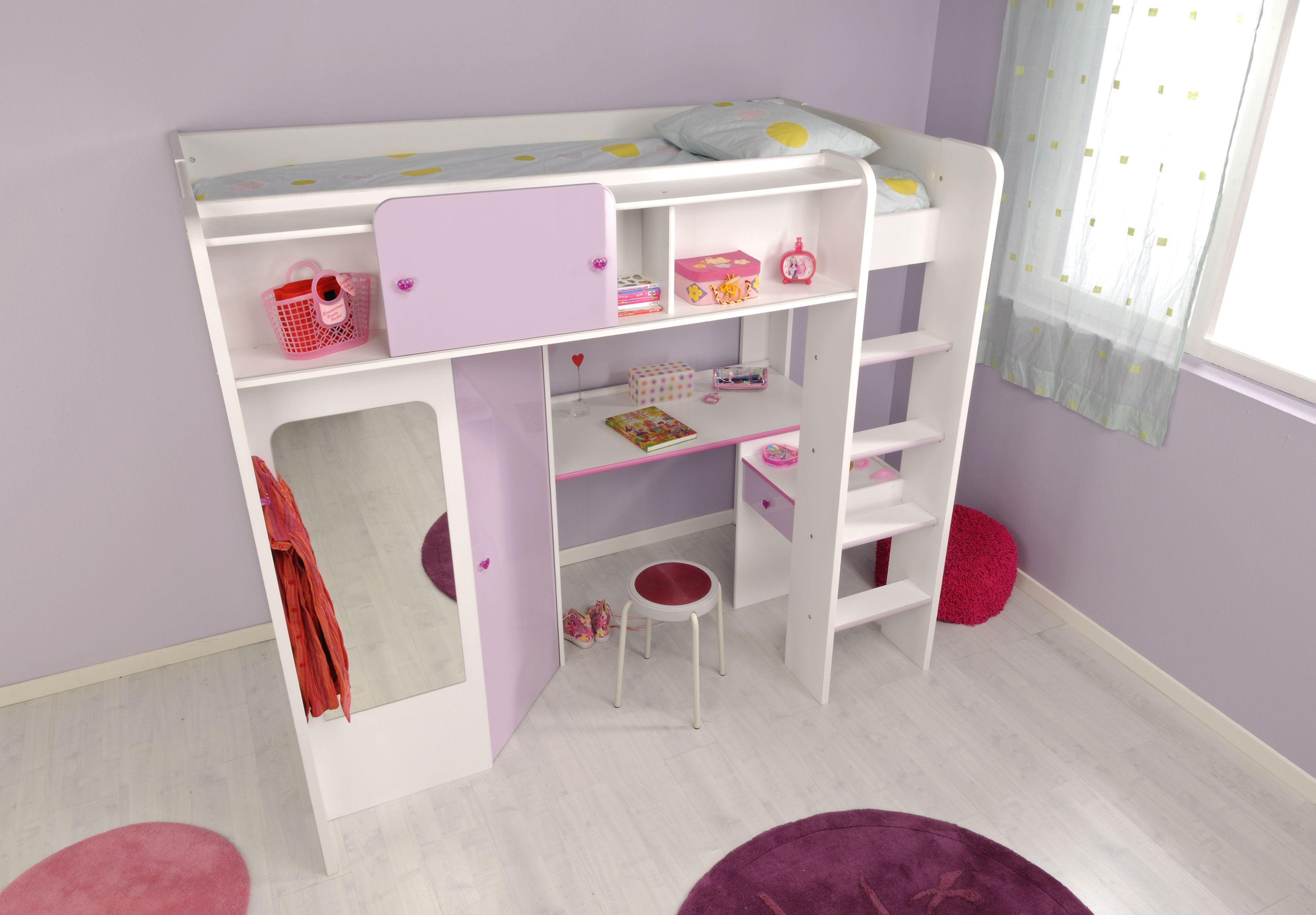 Kinderzimmer Mit Etagenbett : Kinderzimmer mädchenecke hochbett mit kleiderschrank schreibtisch