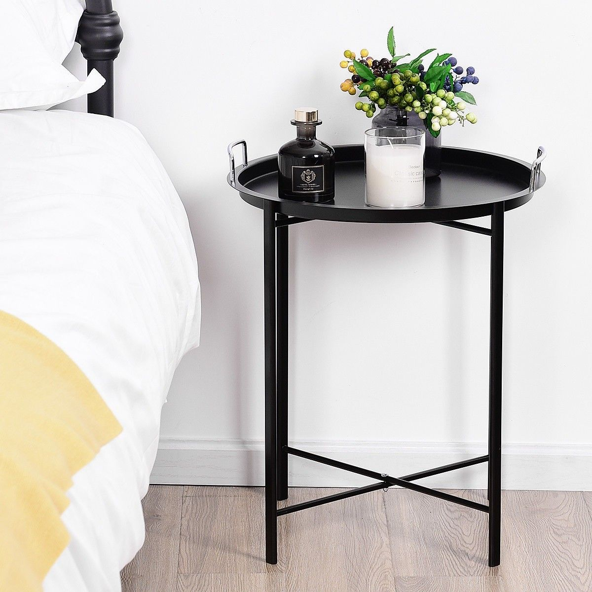 Round Metal Tray Side Living Room End Table Round Metal Table Living Room End Tables Round Metal Side Table