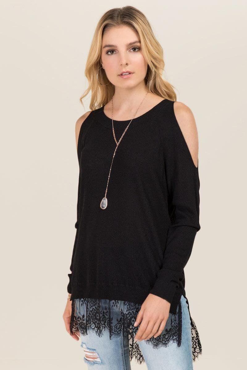 d33ce0e9618 Alto Cold Shoulder Lace Hem Sweater | Tops | Sweaters, Chic outfits ...