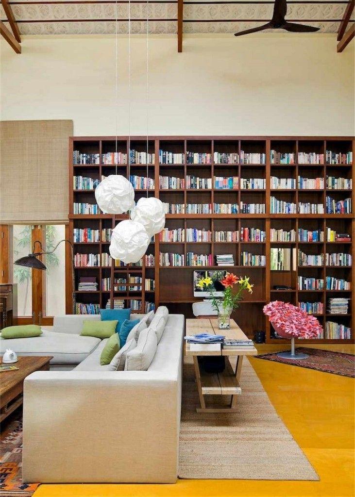 Architecture:Library House Globe Pendant White Cottage High Pressure Sodium BAZZ Pendant Lights Bookshelf Laminate Flooring Sofa Cushion Rug...