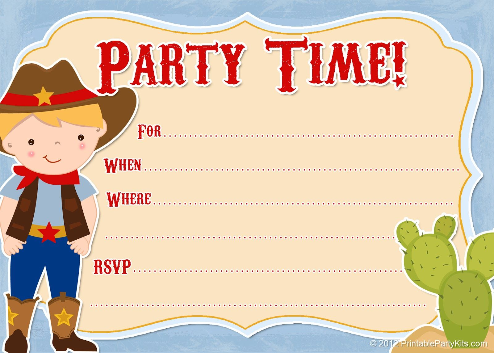 Free Printable Cowboy Party Invitations From PrintablePartyInvitationsBlogspot