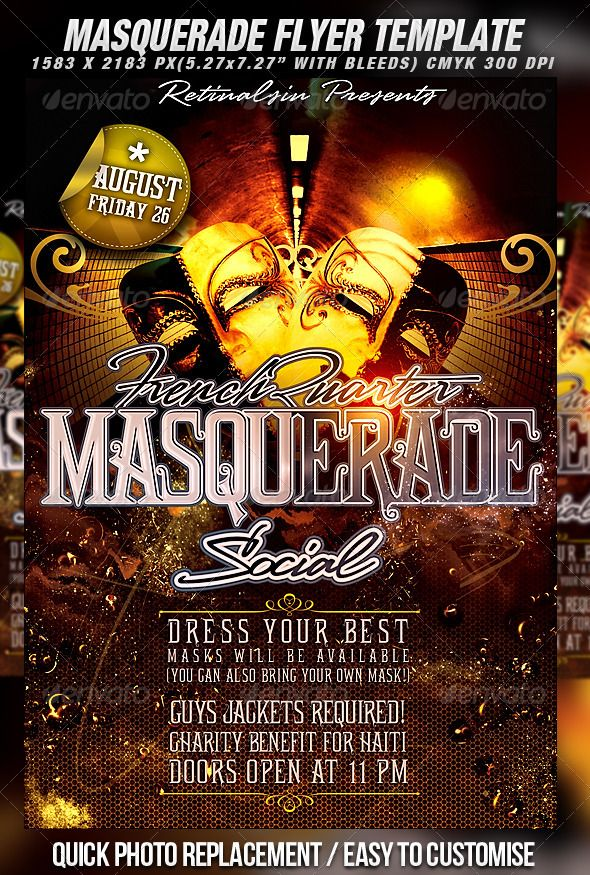 Masquerade Flyer Template   Flyer template and Party poster