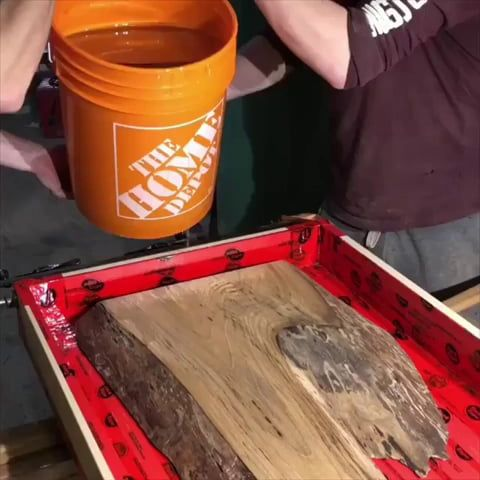 Elm and resin coffee table
