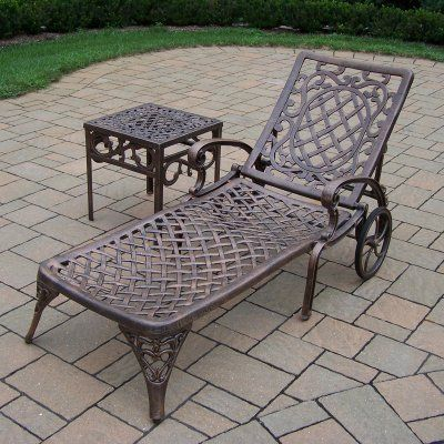Oakland Living Mississippi Chaise With End Table Patio Lounge Chair