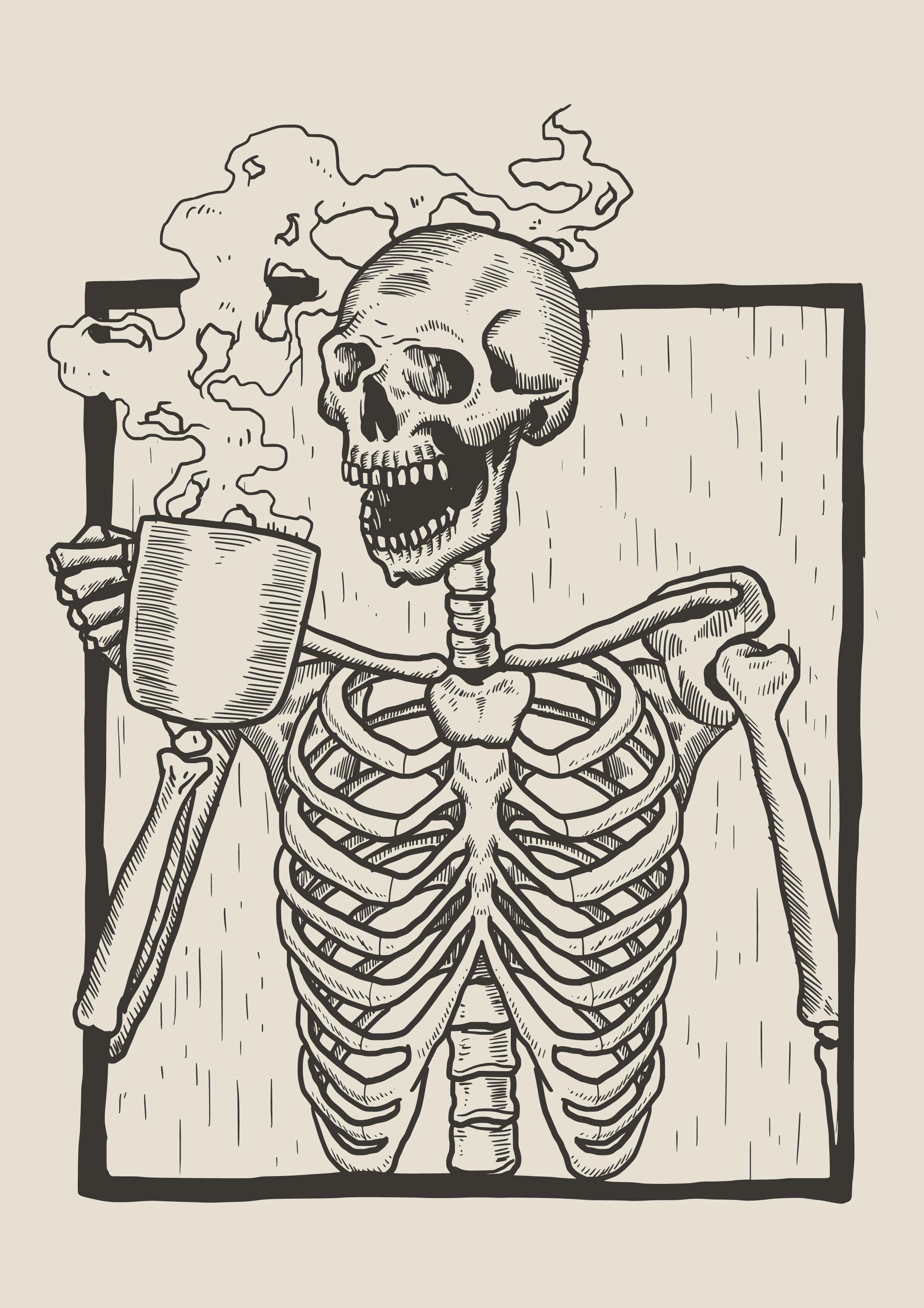 Skeleton Linocut Drink Coffee With Images Skeleton Art