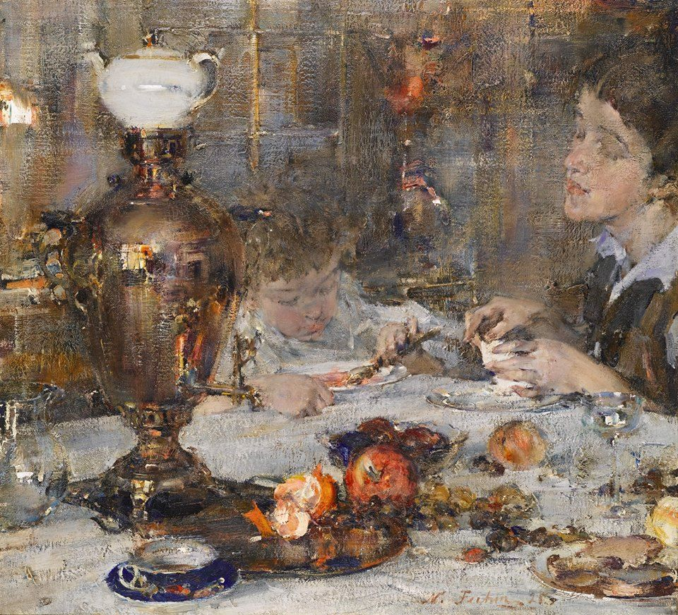 Фешин Николай Иванович (1881-1955) Миссис Фешина с дочерью, 1925 Nikolai Fechin.  Mrs Fechin and Daughter, 1925