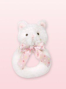 """Bearington Collection Purrfect Kitty Rattle by Bearington. $8.50. Lil Kitty Rattle is 5.5"""" H. Bearington Pretty Kitty Series. This adorable kitty rattle is made of soft white fabric and a pink polka dot bow. Baby will love to hold and shake this rattle, Makes a great baby shower gift for that mother to be."""