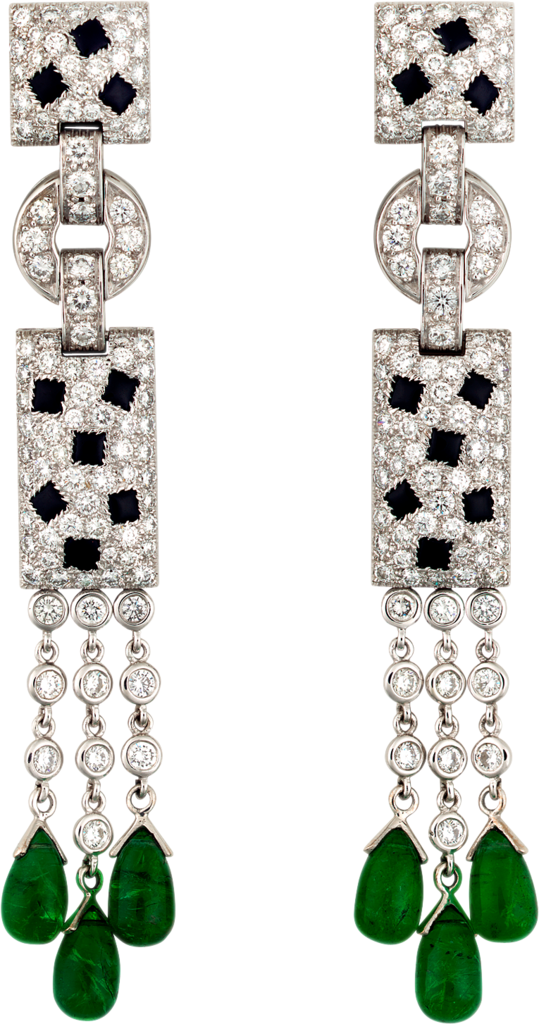 Panthère De Cartier Earrings White Gold Diamonds Emeralds Onyx