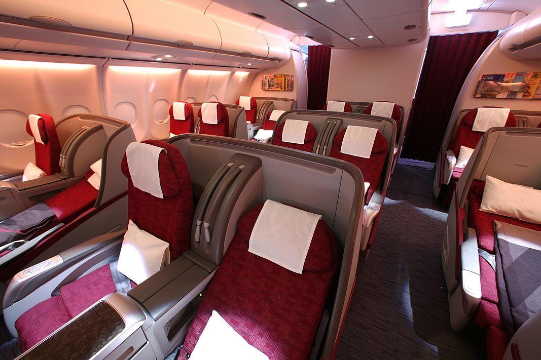QatarAirways A340600 Business Class Cabin with lieflat