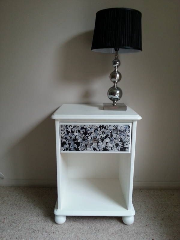 OFFERS Black And White Bedside Table With Decoupage