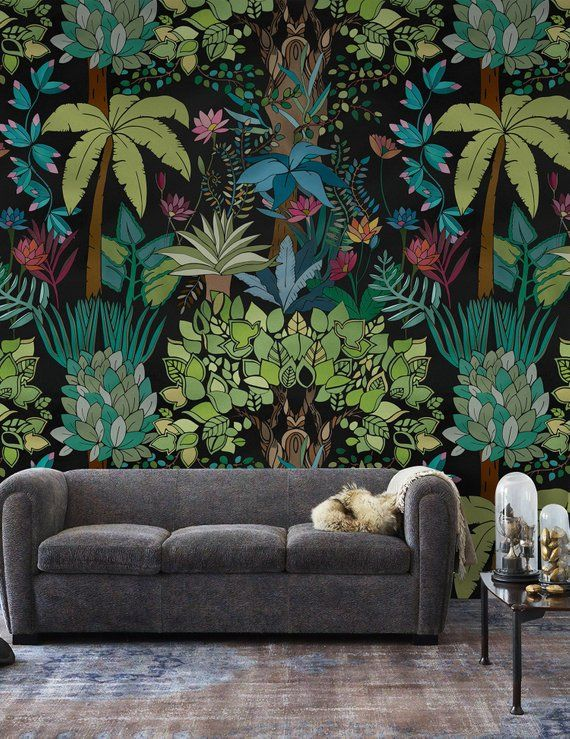 Forest Wallpaper Vintage Jungle Wall Mural Retro Palm Tree