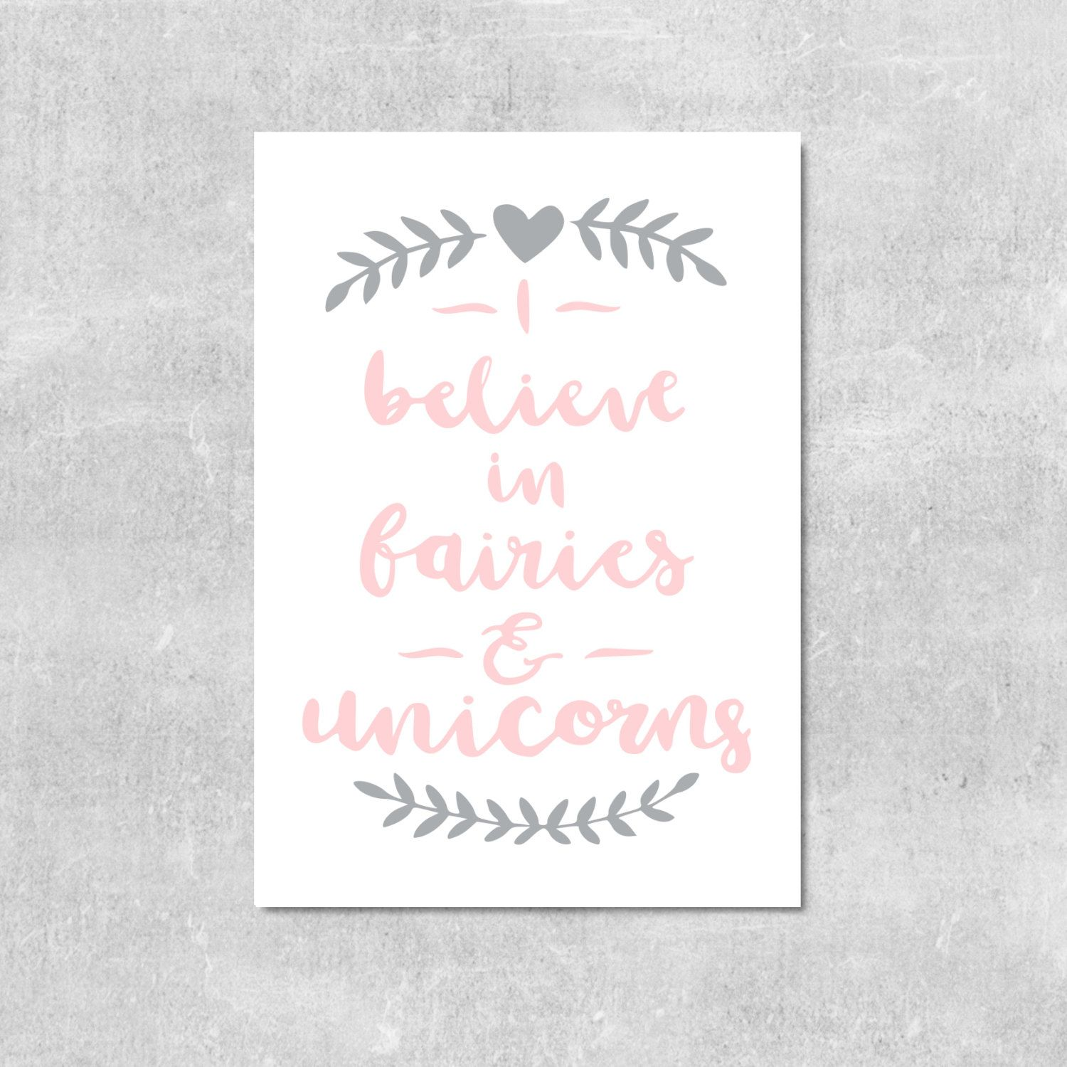 Pink and Grey Nursery Wall Art Fairies and Unicorn Print Girls Room Decor Gift For Young Girl Pink and Grey Decor I Believe In Fairies Print by violetandalfie on Etsy