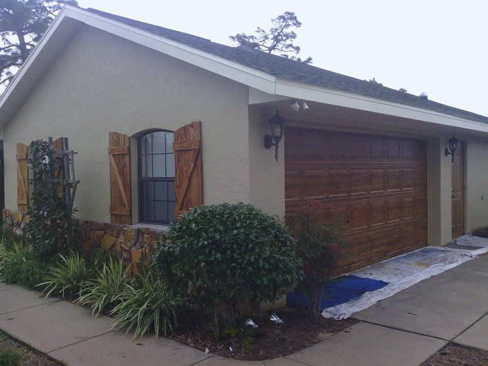 Wooden Garage Doors With Windows | Faux Wood Garage Door Matching Window  Shutters « Ocala Faux