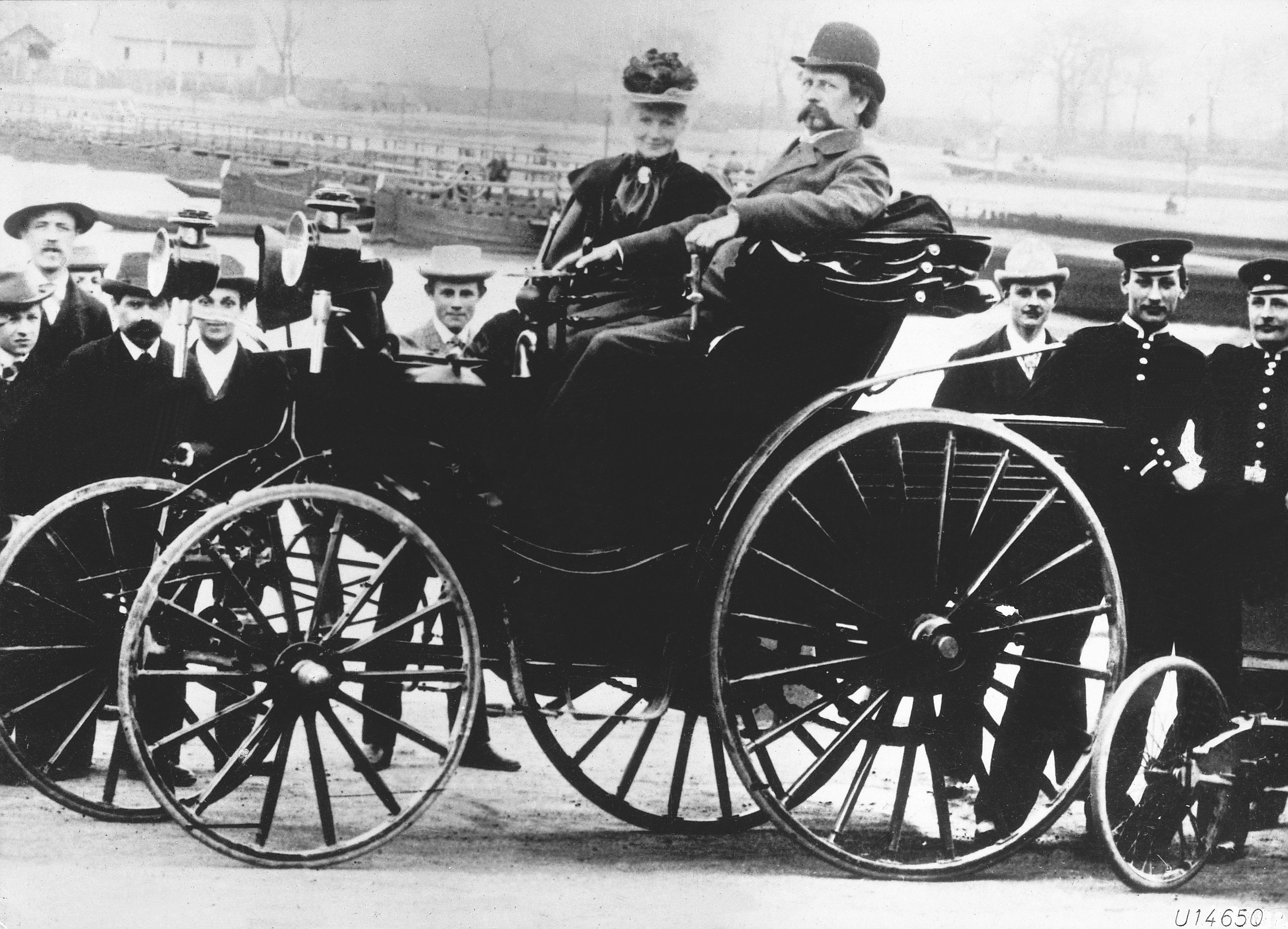 Karl Benz with his wife, Bertha Benz, in a Benz Victoria, 1894 model ...