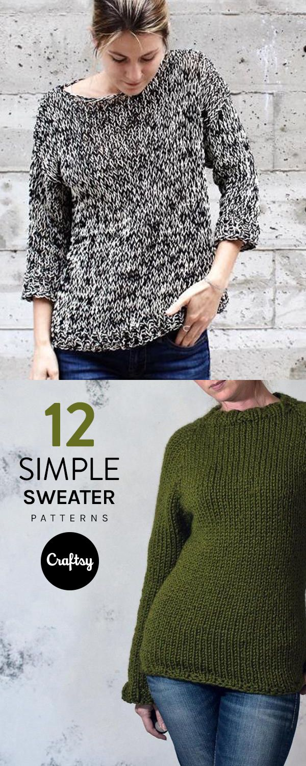 12 Simple Sweater Patterns You Can Knit in a Flash   Patterns, Knit ...