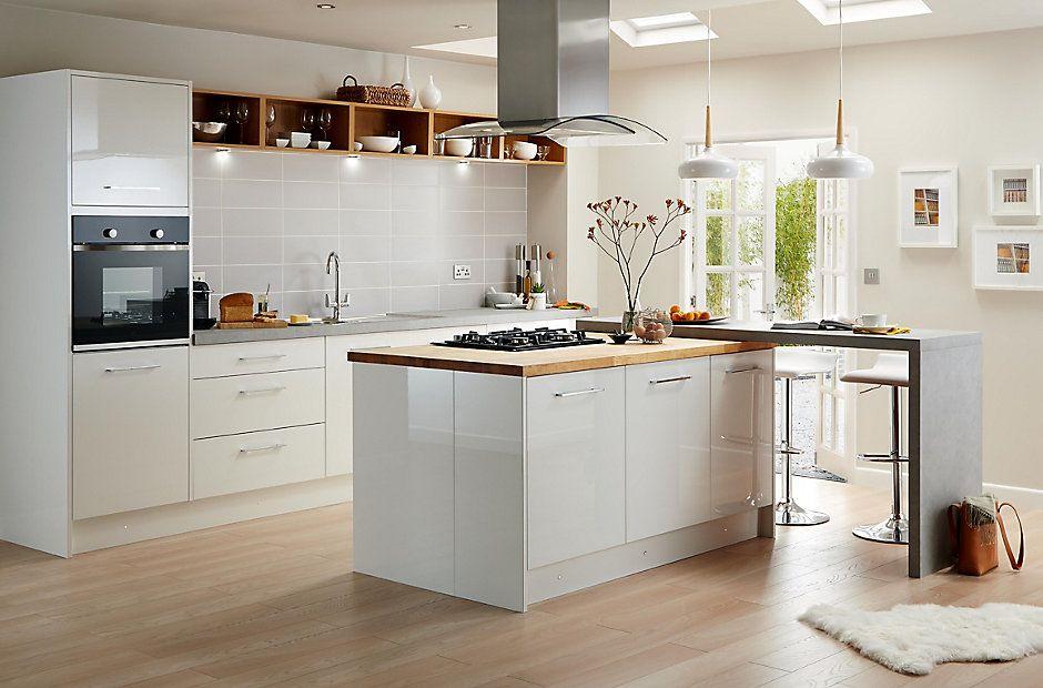 Cooke & Lewis Raffello High Gloss White Slab | DIY at B&Q ...