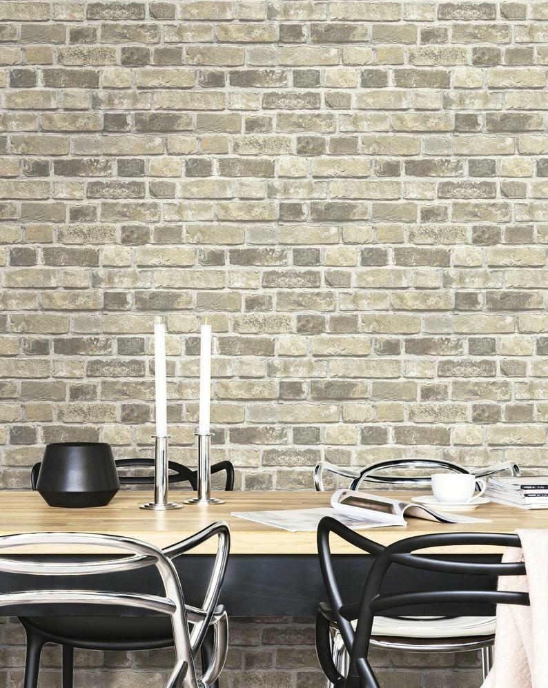 Self Adhesive Wallpaper Brick Wallpaper Peel And Stick Brick Peel And Stick Neutral Brick Wallpaper Temporary Wallpaper Brick In 2020 Brick Wallpaper Peel And Stick Brick Wallpaper Peel And Stick Wallpaper