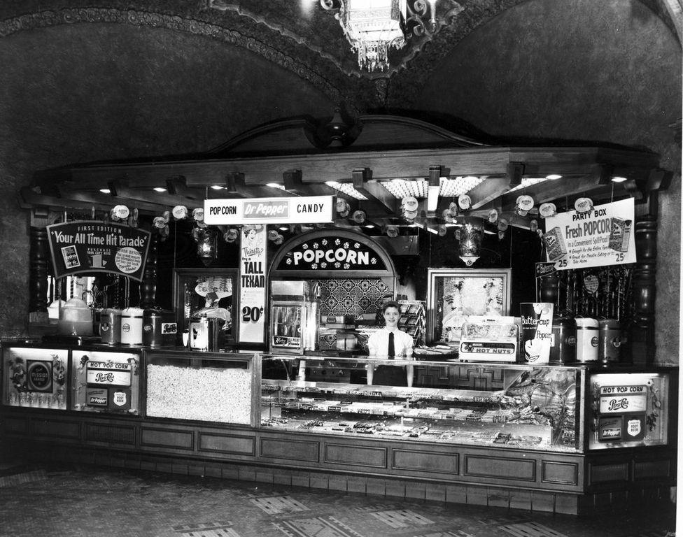 Concessions in a classic cinema retro cinema drive in