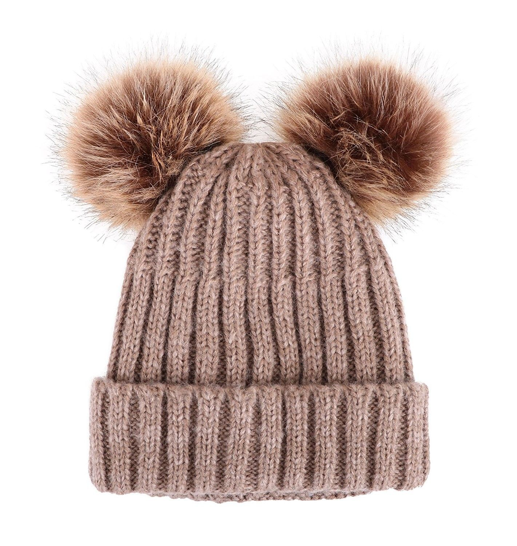 1dbdbc991b5 Cable Knit Beanie With Faux Fur Pompom Ears - Khaki Hat Coffee Ball Beige  Lining - C3182SEQZEI - Hats   Caps