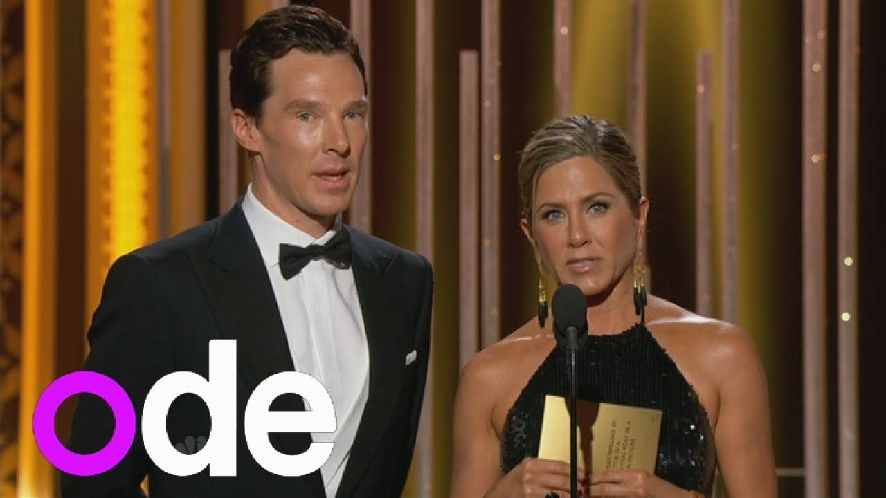 Golden Globe Award presenters Benedict Cumberbatch and Jennifer Aniston jokily argue on stage - 11th January 2015