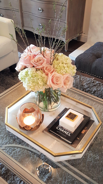 Blush Pink Floral Arrangement Coffe Table Decor Coffee T