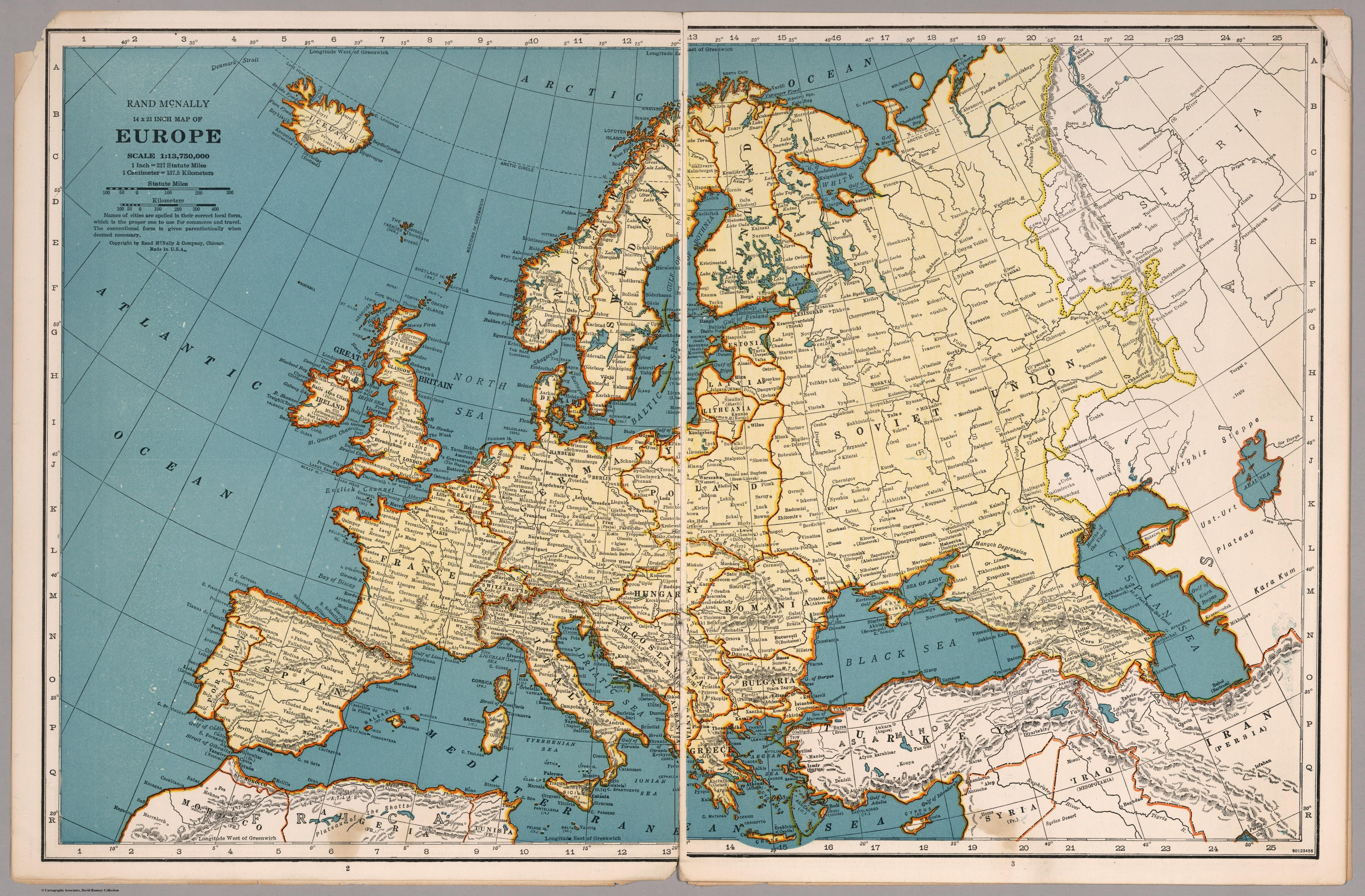 Aesthetically pleasing Map of Europe made by Rand McNally in 1939 ...