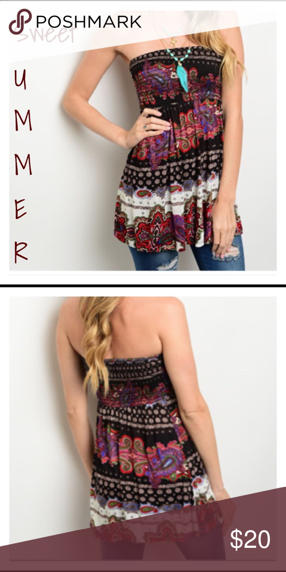 "⚡️1 DAY SALE⚡️Sweet Strapless Paisly Boho Top S M Sweetest little strapless boho Paisly top with elastic tube top-like chest area and smocked elastic waist. 100% soft rayon. New from manufacturer without tags.  Length 20"" Small Bust 32-34 Medium Bust 34-36 Bellezza Boutique Tops Tunics"