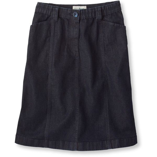 L.L.Bean Easy-Stretch Skirt, Denim Misses ($30) ❤ liked on ...