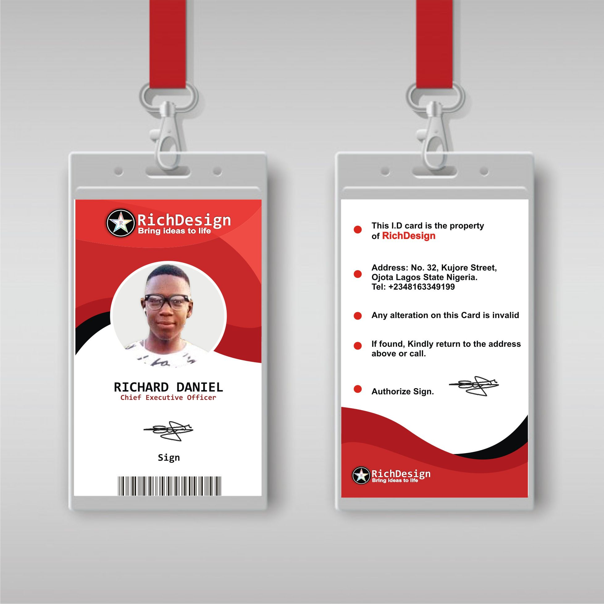 Professional Id Card Web Design Cards Flyer