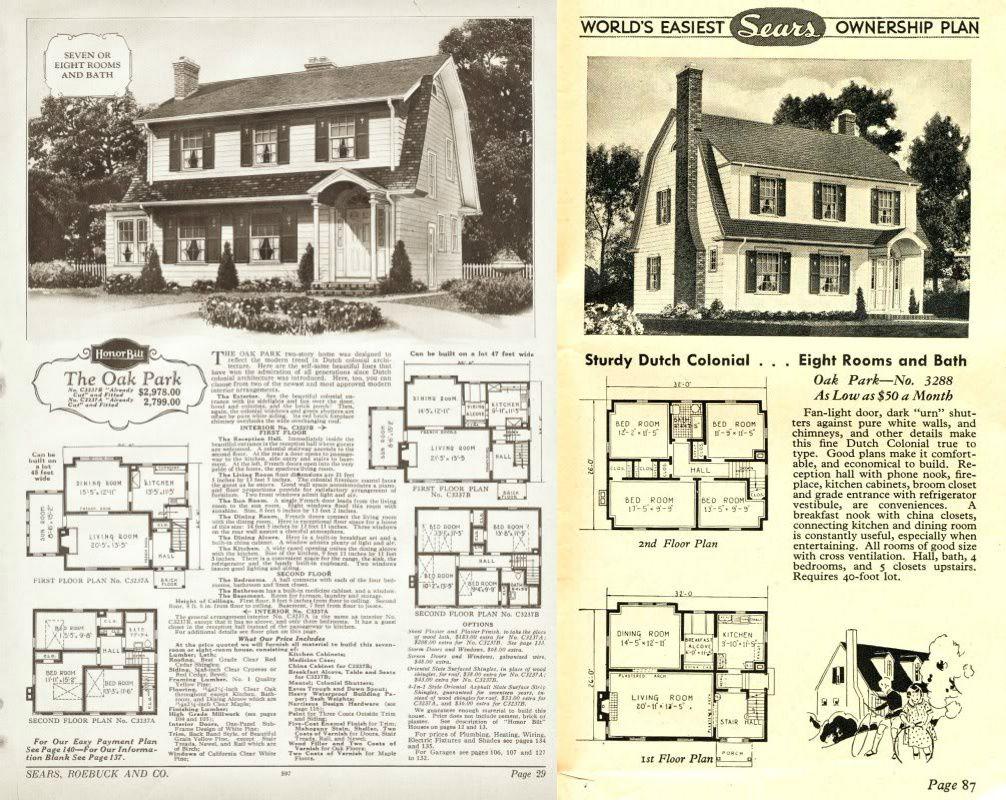 Sears Oak Park 1926 P3237a P3237b 1927 1928 P3237a P3237b 1929 P3288 1930 1931 1932 3288 1933 3288 Dutch Colonial Gambrel Roof Oak Park
