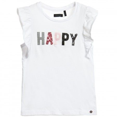 IKKS - Girls White 'Happy' T-Shirt | Childrensalon