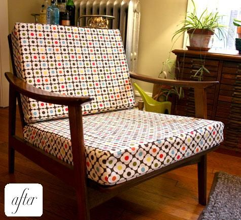 re-upholster chair with orla kiely fabric