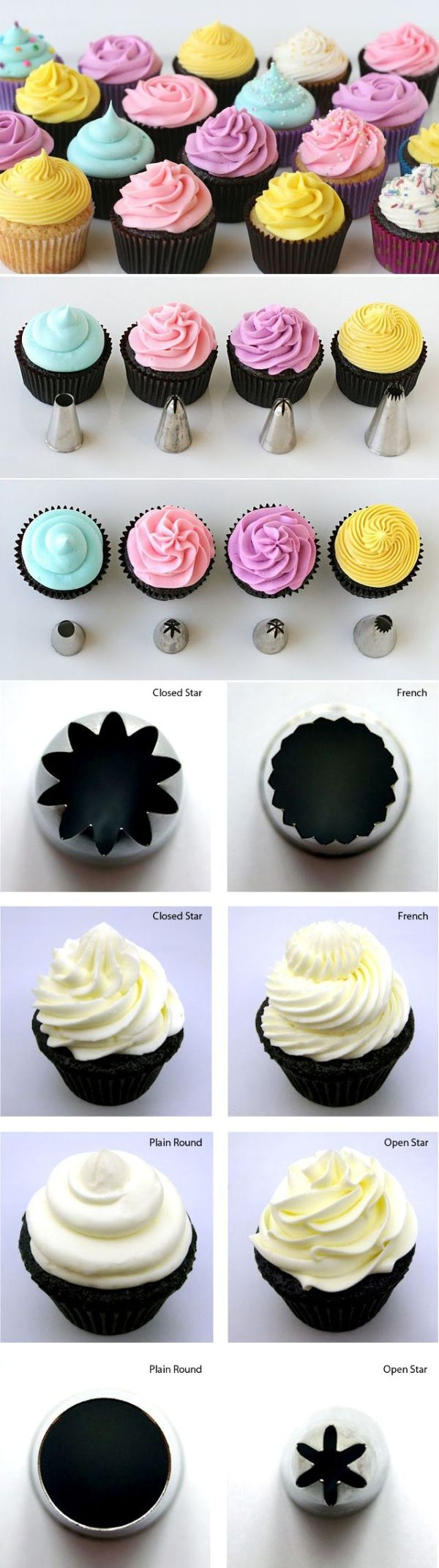 How to Frost Cupcakes: so much easier to remember the piping tips by ...