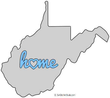 West Virginia Map Outline Printable State Shape Stencil Pattern Virginia Map Map Outline Stencil Patterns Templates
