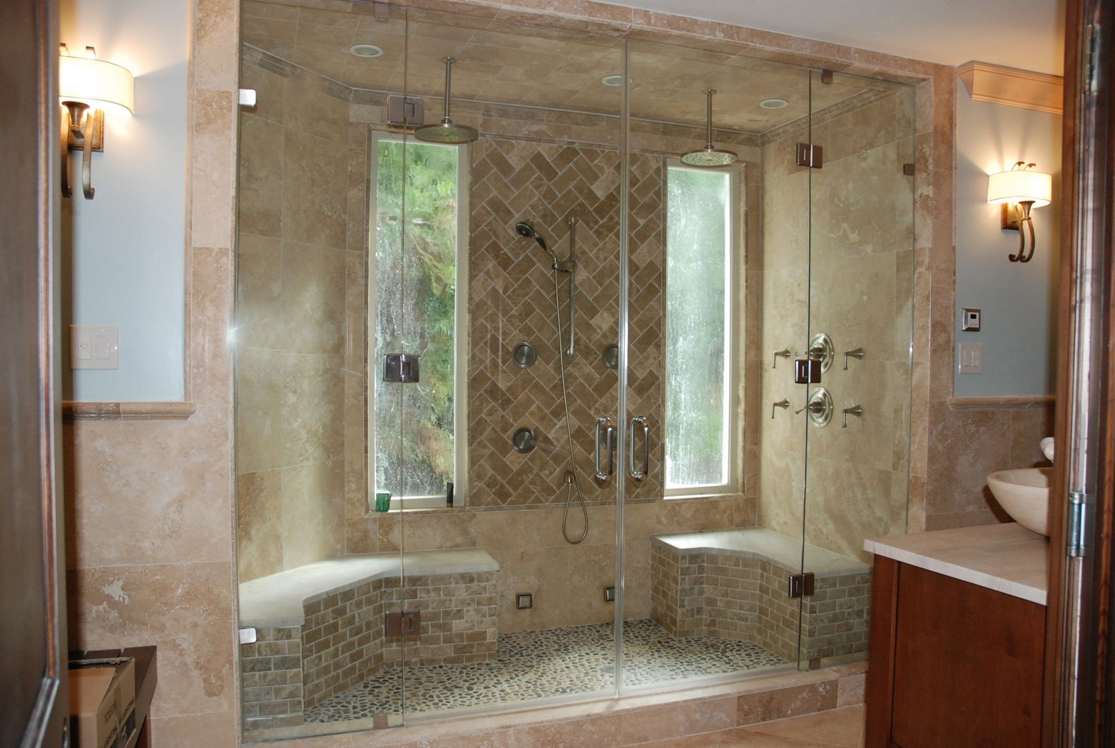 I like the idea of using stone for a steam shower.   Spa design ...