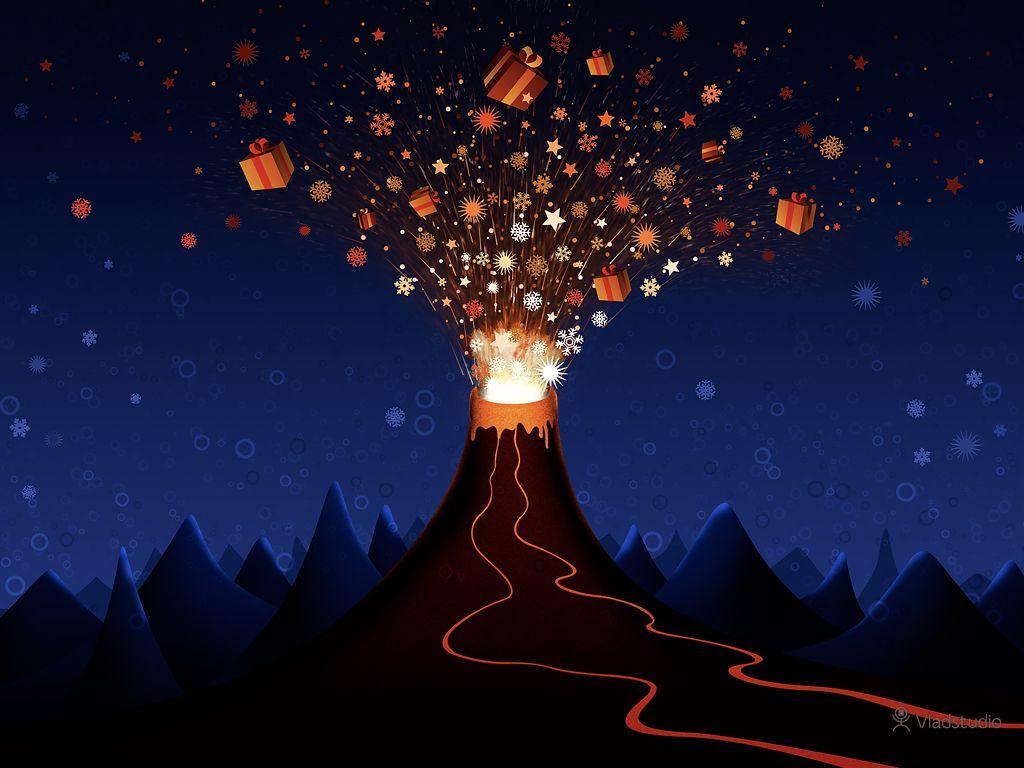 Christmas Volcano · Desktop wallpapers · Vladstudio