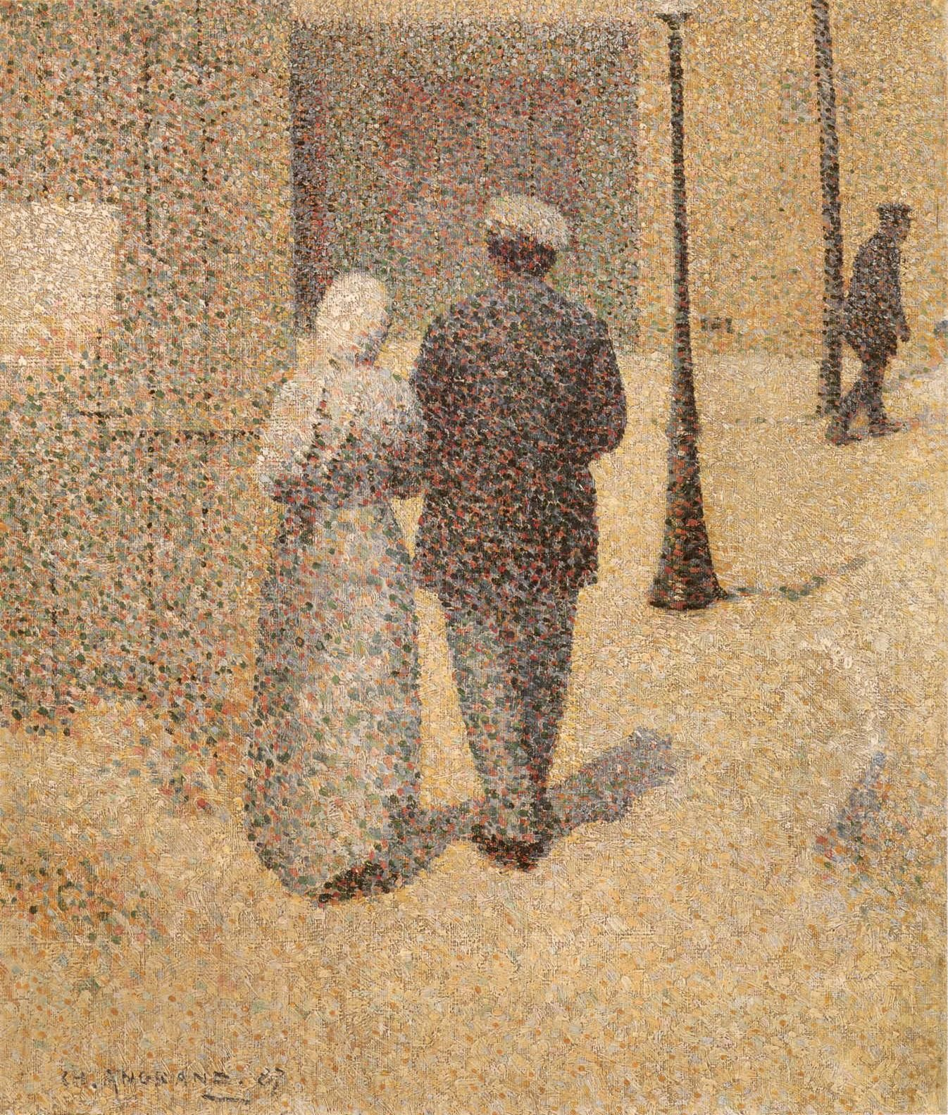 Charles Angrand – Couple in a Street (1887) oil on canvas   Paris, Musée d'Orsay   Gallup, Gruitrooy and Weisberg, Great Paintings of the Western World, p. 504