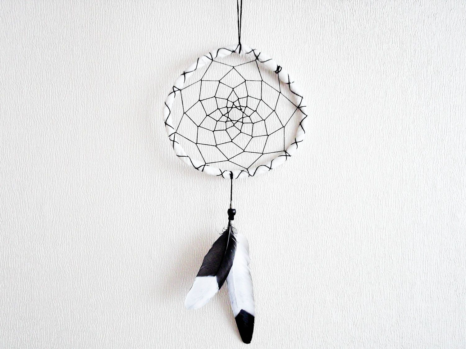 Dream Catcher - Black or White - With Painted Feathers, White Frame and Black Nett - Classic, Simple, Monocromatic - Home Decor, Mobile  I seriously need one asap!