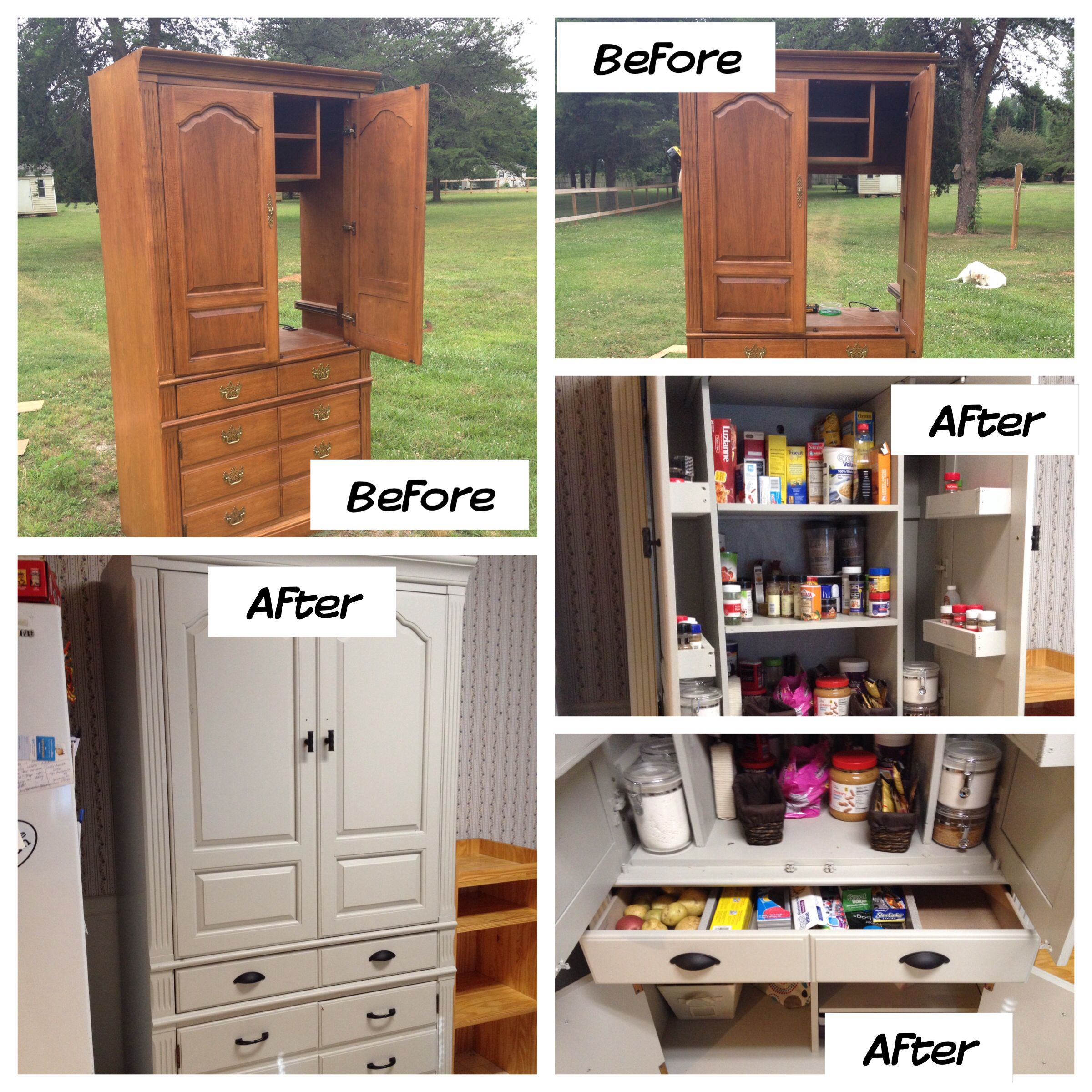 TV Armoire Turned Food Pantry