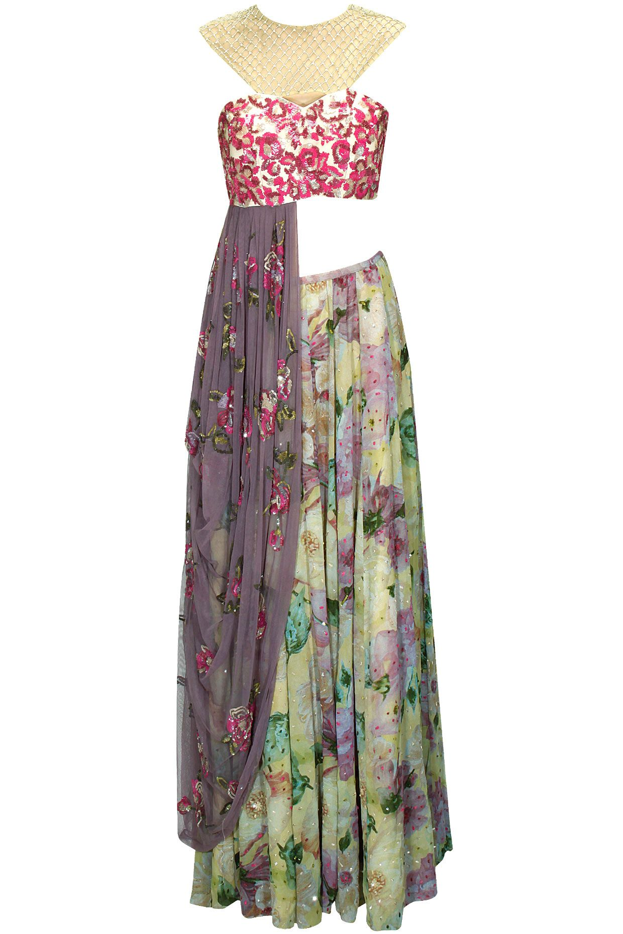 Floral printed embroidered draped lehenga sari with purple embellished blouse available only at Pernia's Pop-Up Shop.