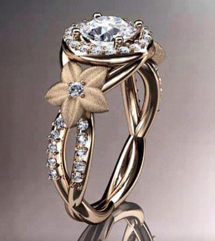 14kt rose gold diamond leaf and vine wedding ring engagement ring